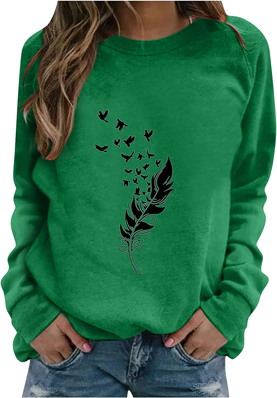 felwors Sweatshirts for Women, Womens Round Neck Long Sleeve Tunic Tops Sweatshirt Loose Soft Casual Blouse Shirts
