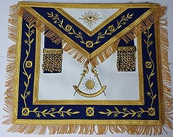 Masonic Apron-Embroidered Past Master Apron Royal Blue  Blue & Gold