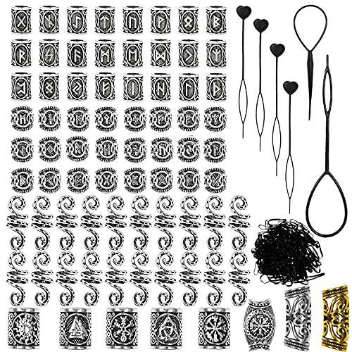 76 PCS Viking Beard Beads Antique Norse Runes Hair Tube Beads Dreadlocks Beads Braiding Beads with 6 PCS Pull Hair Pin 100 PCS Black Rubber Bands