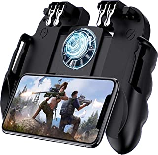 4 Trigger Mobile Game Controller with Cooling Fan - Adjustable Stand - for PUBG - Fortnite - 6...