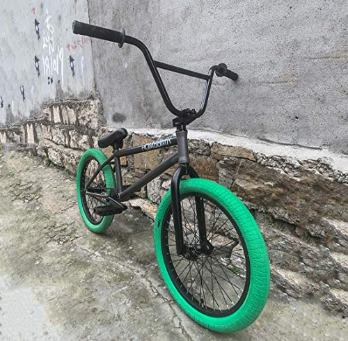 AISHFP 20 Inch Mens Freestyle BMX Bike, Street Stunt BMX Bicycle, Extreme Sport Fancy Show BMX Bikes for Beginner-Level to Advanced Riders