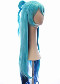 CosplayWigsCom: Aqua of KonoSuba Inspired Waist-long Blue Ombre Straight Wig with Bangs and Loop Prestyled Bangs Halloween Japanese Anime Cosplay Hair for Women and Teens