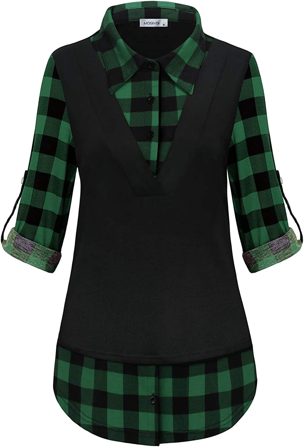 MOQIVG Womens Long Sleeve Contrast Collar Shirts Trendy Casual Plaid Patchwork Tunic Tops