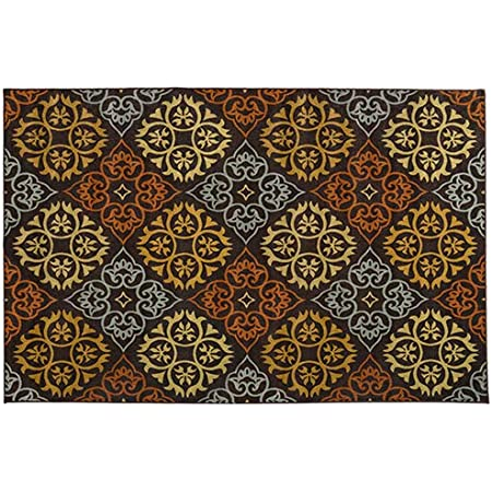 House Home And More Skid Resistant Carpet Indoor Area Rug Floor Mat Kaleidoscope Bloom Autumn Brown 6 Feet X 9 Feet Kitchen Dining
