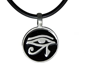 exoticdream Egyptian Udjat Eye of Ra Horus Scarab Pewter Pendant