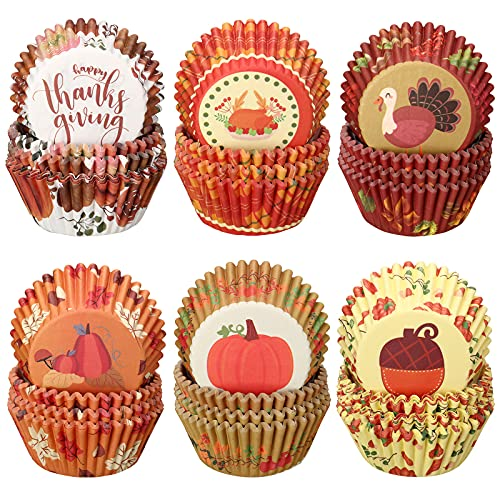 600 Pieces Thanksgiving Cupcake Liners Pumpkin Turkey Maple Leaf Cupcake Baking Cups Thanksgiving Muffin Liners Paper Baking Cups for Home Baking Kitchen Thanksgiving Autumn Party Supplies, 6 Styles