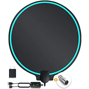 DrillTop Amplified HD Digital TV Antenna Best Ultra Long Range, Support 4K 1080p TV's | Indoor Smart Switch Amplifier Signal Booster Award 2019 Patented Round Shape