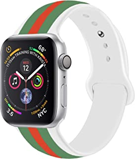 Sport Band Compatible with Apple Watch, Premium Sport Durable Soft Silicone Bracelet Wrist Strap Replacement Band for Series 5 4 3 2 1 (38MM/40MM S/M White Green Red)