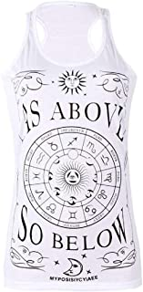 S-Fly Women's Shirts Summer Letters Print Sleeveless Graphic Tank Tops T-Shirts