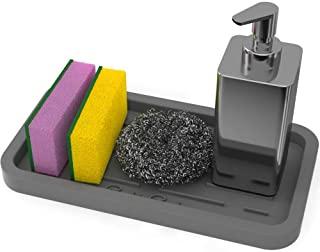 GOOD TO GOOD Sponge Holder - Kitchen Sink Organizer Tray for Sponges, Soap Dispenser, Scrubber, and Other Dishwashing Accessories - Gray