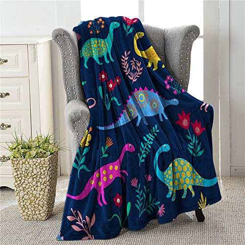 COLLA Cute Colorful Cartoon Dinosaur Flowers Throw Blankets for Kids Youth, Lightweight Soft & Cozy Flannel Throw Blankets for Bed Sofa Chair Couch Travel 60'X50'