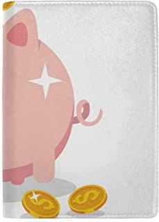 Cute Funny Piggy Piggy Bank Blocking Print Passport Holder Cover Case Travel Luggage Passport Wallet Card Holder Made with Leather for Men Women Kids Family