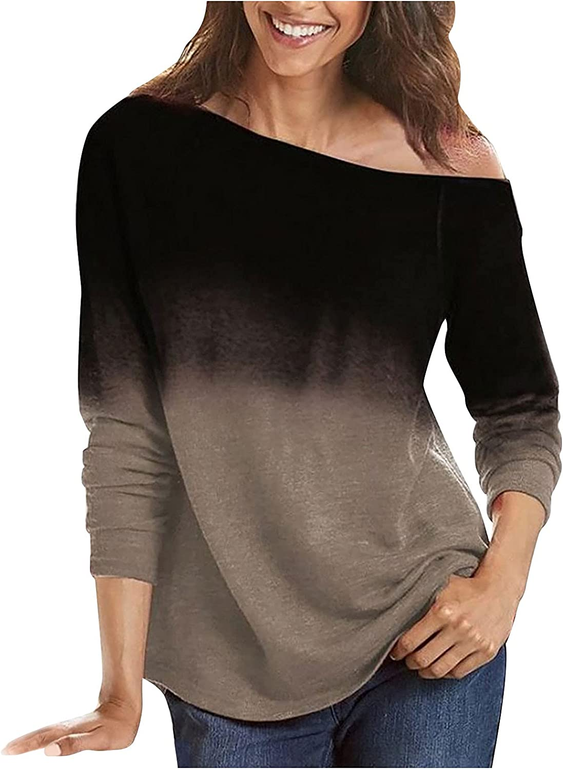 Women Long Sleeve Gradient Striped Printing Round Neck Loose Blouse Sweatshirt Casual Comfy Tops Shirts Pullover