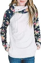 Krissry Women's Casual Loose Long Sleeve Pockets Contrast Floral Sleeves Hoodie Sweatshirt