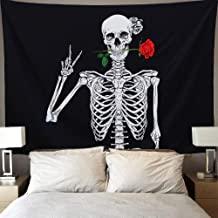 """Skull Tapestry Rose Rock and Roll Skull Wall Tapestries Human Skeleton Tapestry Black, Withe and Red 59""""x51"""", Halloween De..."""