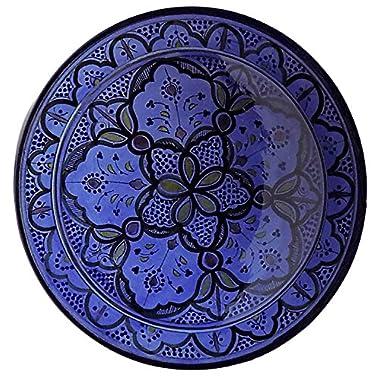 Moroccan Ceramic Plate Handmade Deep Serving Dinnerware 16 Inches Diameter Blue