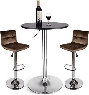 PULUOMIS Set of 3 Black Bar Table, with 2 Dark Brown Contemporary Chrome Air Lift Barstool Flannel Padded Adjustable Swivel Stools