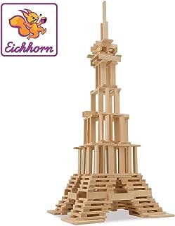 Eichhorn 100001612 Holzbaukasten Holzsteine zum Bauen, inkl. Vorlagen, aus FSC 100 Prozent zertifiziertem Buchenholz, 200 teilig, für Kinder ab Zwei Jahren