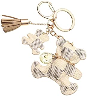 Fashion Bear Tassel Charm Car Purse Wallet Handbag PU Leather Key Chain Ring