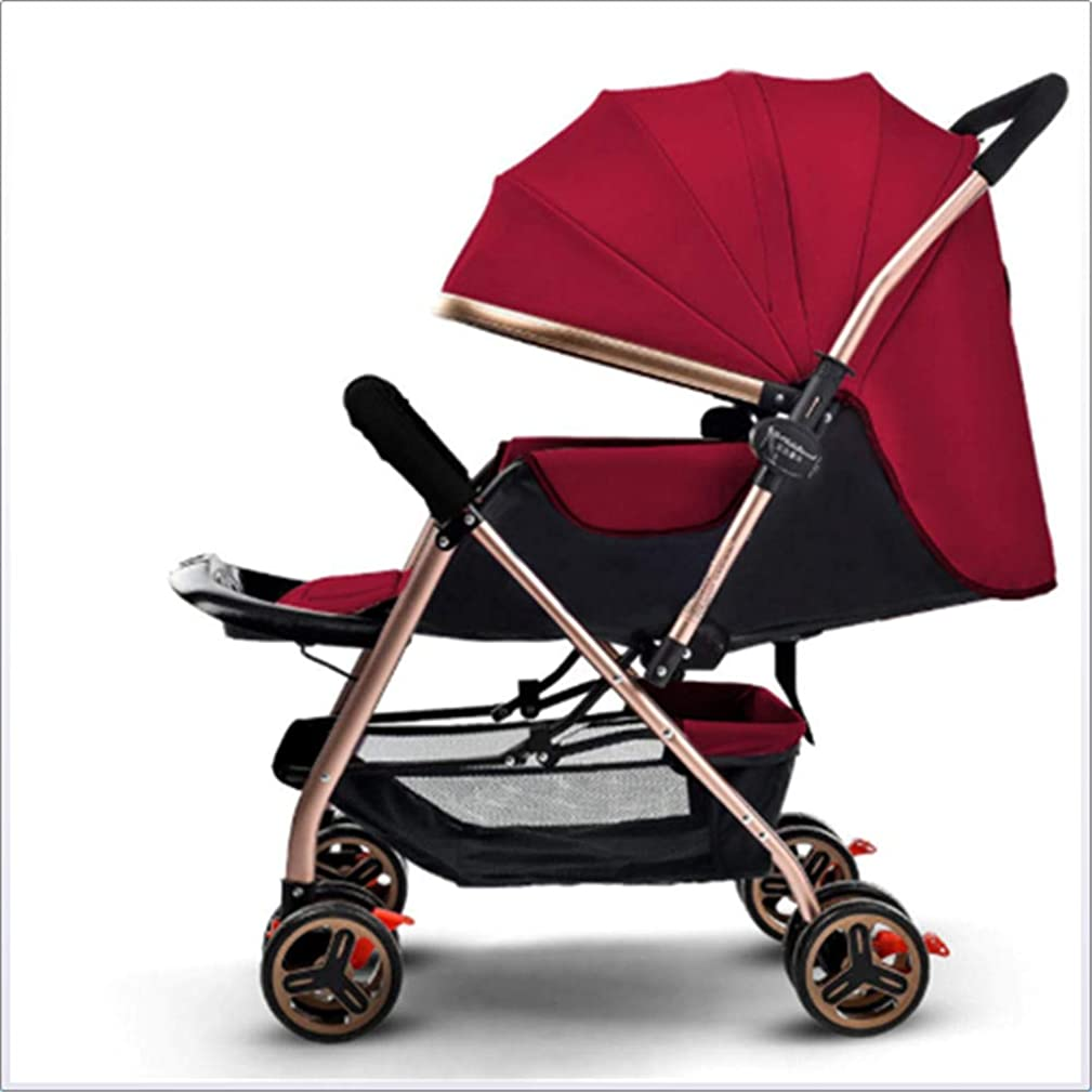 FYYTRL Baby Stroller can sit Reclining Light Folding Four-Wheel Shock Absorber Child Baby Two-Way Baby Stroller
