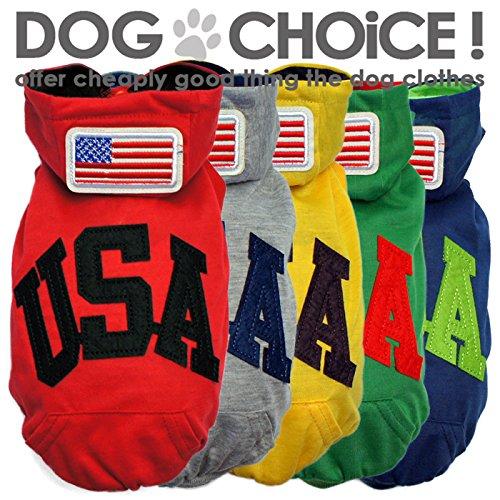 【パーカー】Tシャツ素材の薄手タイプ USA国旗ワッペンパーカー 着せやすい前ボタンタイプのお洋服です/チワワ服/ダックス服/トイプードル服//部屋着・抜け毛対策 S,レッド/薄手パーカー