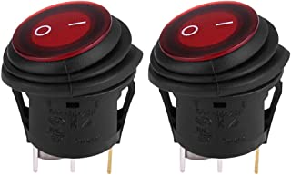 Round Switch, Cuque 2pcs Red LED Light 12V 20A 3Pin Car Auto Boat Round On-Off Rocker Toggle Switch