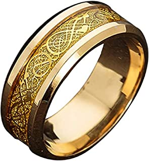 Dragon Titanium Steel Ring for Men's Fashion Inlay Gold and Silver Dragon Piece Stainless Steel Jewelry Gift-8US