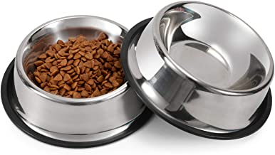 LEACOOLKEY Stainless Steel Dog Bowl for Small/Medium/Large Dog,Cat,Pet-Food/Water Bowls with Rubber Base Reduce Spill Set ...