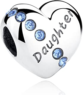 Love Daughter Heart 925 Sterling Silver Bead Charms Fits Pandora, European Bracelets Compatible