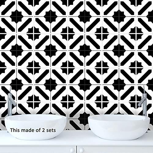 Marokkanische Schwarz-Weiß-Fliesenaufkleber-Wohnzimmer küche Selbstklebende Wasserdichte Wandaufkleber dekoration,15 * 15CM