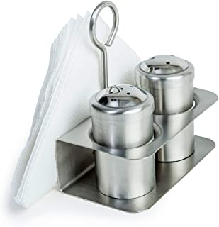 3-in-1 Salt and Pepper Stand with Napkin Holder - Salt Pepper Combo Dispenser with Tissue Stand - Stainless Steel Condiment Shaker Set