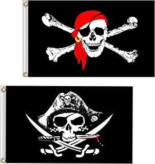 VLalin Pirate Flag, 2 PCS 2' x 3' Skull and Crossbones Jolly Roger Flag for Outdoor Decoration