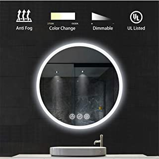 LED Lighted Makeup Mirror for Bathroom Vanity with Fogless Waterproof Glass & Dimmable, Color Temperature Adjustable LED Lighting. Vertical or Horizontal Wall Mounted Smart Mirror. 32