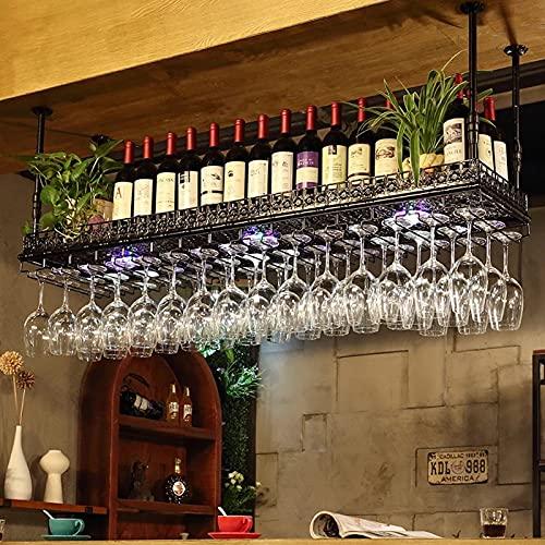 botellero vino Botellero para Vinos Colgante, Soporte para Copas de Vino de Hierro Doméstico, Estante para Botellas de Vino Al Revés, Estante para Tazas Colgante, Estante para Almacenamiento de Vino p