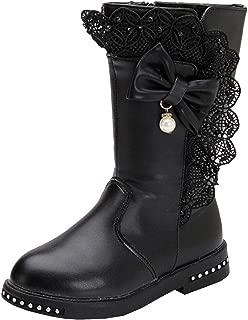 DADAWEN Girl's Waterproof Lace Bowknot Side Zipper Fur Lined Tall Winter Boots (Toddler/Little Kid/Big Kid)