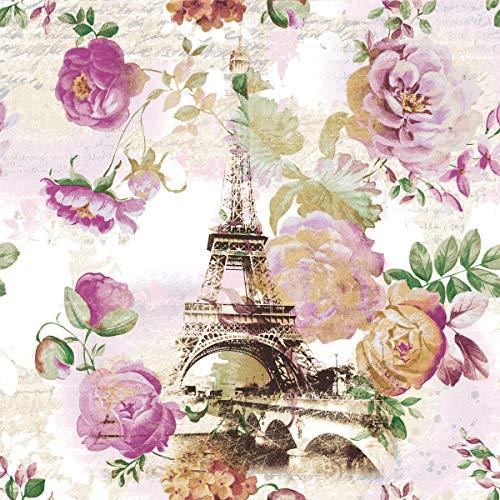 20 Servietten Rosen an Eiffelturm/Paris/Frankreich/Blumen 33x33cm