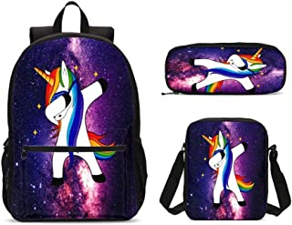 Unicorn Galaxy Kids Backpack Set 3 Piece Student Back To School Book Bag with Shouder Bag Pencil Case for Boys Girls 1-6th Grade