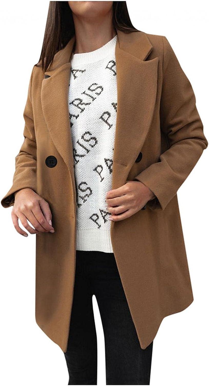Misaky Women's Faux Wool Elegant Blend Trench Coat Slim Long Coat Outerwear Winter Jacket