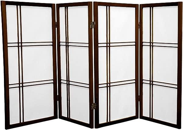 Oriental Furniture 3 Ft Tall Double Cross Shoji Screen Walnut 4 Panels