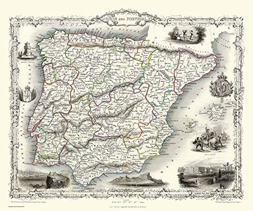 History Portal 1000 Piezas Puzle Rompecabezas Mapa del España & Portugal 1851 por John Tallis