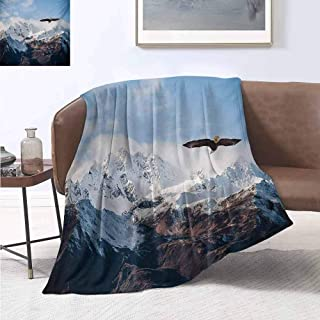 jecycleus Mountain Rugged or Durable Camping Blanket Frozen Peaks Tops of The Mountain with a Flying Eagle Free in Nature Photo Warm and Washable W91 by L60 Inch Brown White Blue