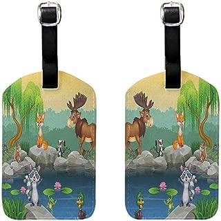 Luggage ID Tag Cartoon,Funny Mascots Animals by the Lake Moose Fox Squirrel Raccoon Kids Nursery Theme, Multicolor Getaway Luggage Tag