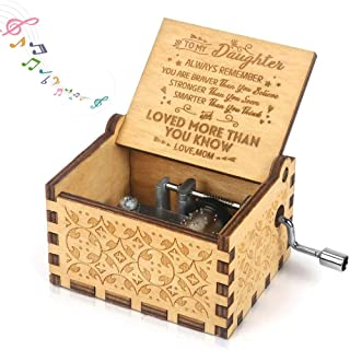 Music Box Gift for Daughter from Mom,Hand Crank Engraved Musical Box You are My Sunshine Vintage Birthday Gift Mom to Daug...