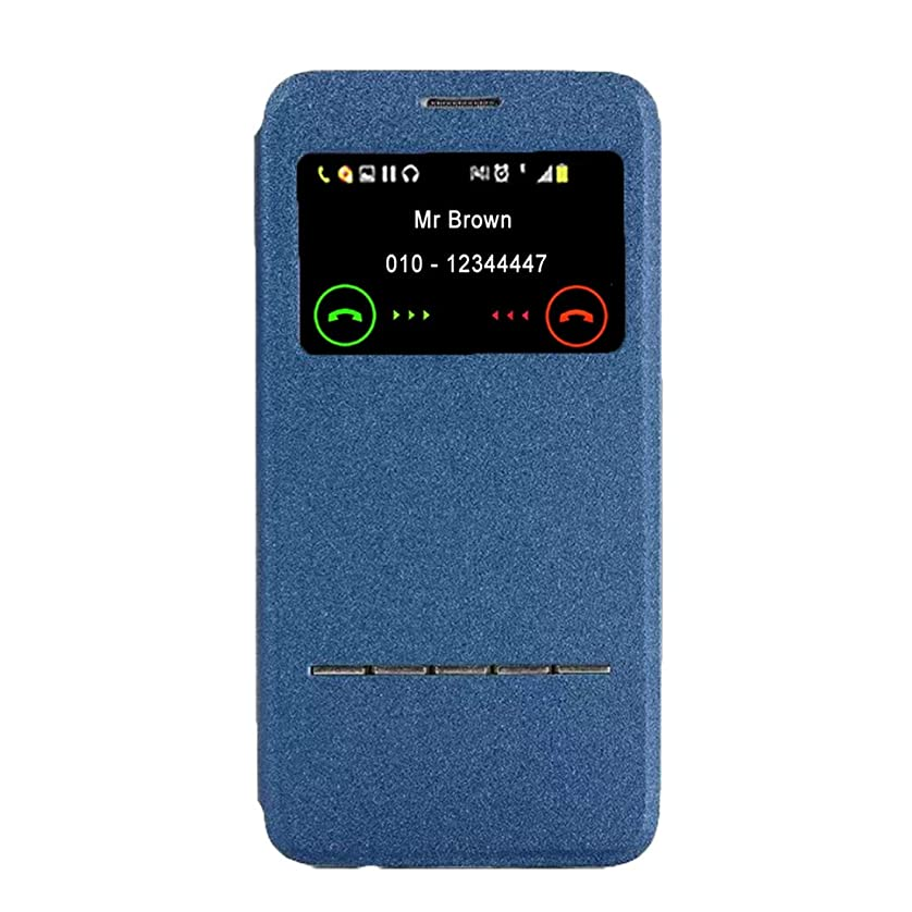 つかまえる検出可能ベックスGalaxy S7 / G930横型フリップレザーケース(ホルダーおよび呼び出し表示ID付き)の新機能(ブラック) Yikaja (色 : Blue)