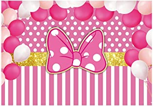 Funnytree 7x5ft Pink Bowknot Striped Party Backdrop Gold Glitter Polka Dots Princess Girl Photography Background Cartoon Mouse Balloon Baby Shower Birthday Cake Table Decoration Banner Photo Booth
