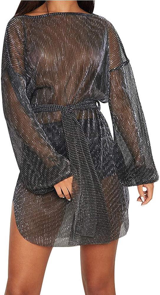 Womens Sheer Mesh Dress See Through - Sexy Long Sleeve Mini Dresses Club Outfits