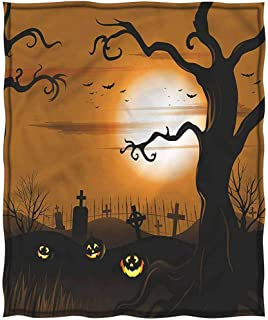 Merry Christmas,Chrismas Blanket,Blanket for Women Silky Soft Plush Blanket Double Print Halloween Scary Cemetery Breathable Hed Resistant Throw(50