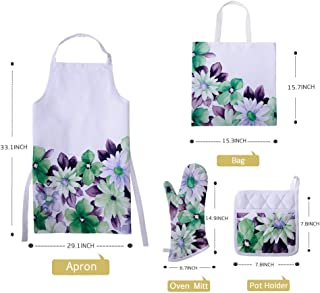 OiseauVoler Printed Apron Set With Oven Mitt, Pot Holder, Gift Bag, Adjustable Neck Apron for Men Women Chef Cooking Baking Gardening
