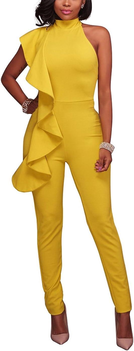 Engood Women's Sexy Thin Ruffle Strapless High Waist Clubwear Long Wide Leg Pants Jumpsuit Rompers