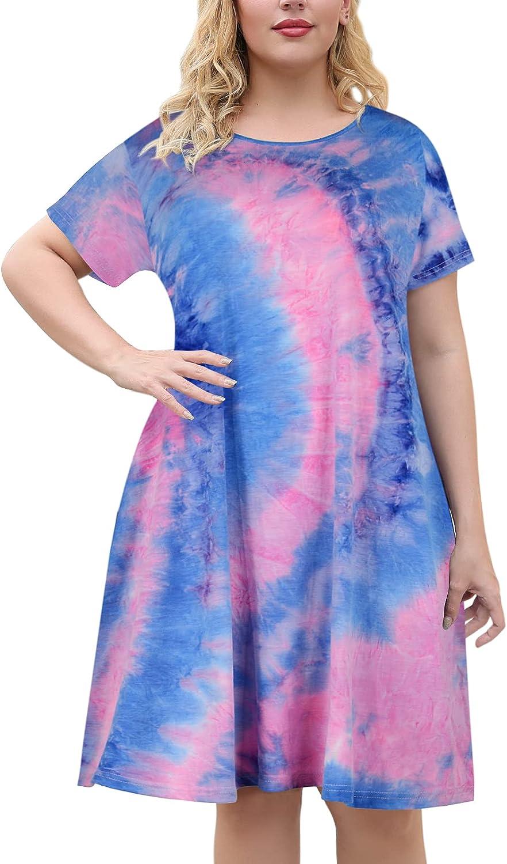 Celkuser Women's Plus Size Tie Dye Dresses Casual Short Sleeve Loose with Pocket CEL112